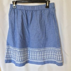 Skies are blue chambray pull on mini skirt size m